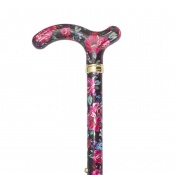 Petite Adjustable Folding Easy-Joint Pink and Black Floral Walking Cane