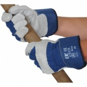Blue Rigger Gloves With Leather Knuckle Protection USUR-PB