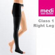 Medi Mediven Plus Class 1 Black Right Leg Stocking with Waist Attachment and Open Toe