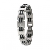 Sabona Executive Rubber Stainless Magnetic Bracelet