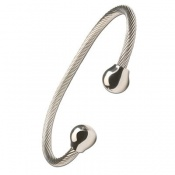 Sabona Professional Steel Twist with Silver Balls Magnetic Bracelet