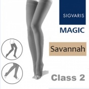 Sigvaris Magic Class 2 Thigh Open Toe Compression Stockings - Savannah