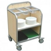 School Canteen Wood Finish Compact Cutlery Storage Trolley