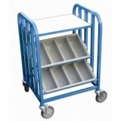School Canteen Cutlery Storage Trolley with Tray Table