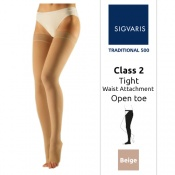Sigvaris Traditional 500 Class 2 (RAL) Beige Thigh Compression Stockings with Open Toe and Waist Attachment