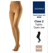Sigvaris Traditional 500 for Men Class 2 (RAL) Beige Compression Tights with Open Toe
