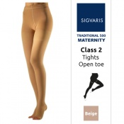 Sigvaris Traditional 500 for Women Class 2 (RAL) Beige Compression Maternity Tights with Open Toe