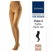Sigvaris Traditional 500 for Women Class 2 (RAL) Beige Compression Tights with Open Toe