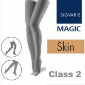 Sigvaris Magic Class 2 Thigh Open Toe Compression Stockings - Skin