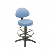 Sunflower Medical Cool Blue Gas-Lift Stool with Back Rest, Foot Ring and Glides