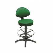 Sunflower Medical Green Gas-Lift Stool with Back Rest, Foot Ring and Glides