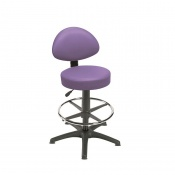 Sunflower Medical Lilac Gas-Lift Stool with Back Rest, Foot Ring and Glides
