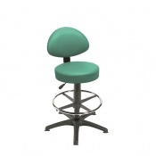 Sunflower Medical Mint Gas-Lift Stool with Back Rest, Foot Ring and Glides