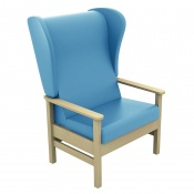 Sunflower Medical Atlas Cool Blue High-Back Vinyl Bariatric Patient Armchair with Wings