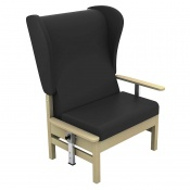 Sunflower Medical Atlas Black High-Back Intervene Bariatric Patient Armchair with Drop Arms and Wings
