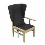 Sunflower Medical Atlas Black High-Back Intervene Patient Armchair with Drop Arms and Wings