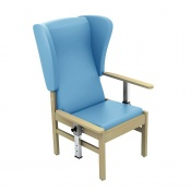 Sunflower Medical Atlas Cool Blue High-Back Vinyl Patient Armchair with Drop Arms and Wings