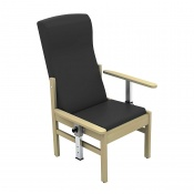 Sunflower Medical Atlas Black High-Back Intervene Patient Armchair with Drop Arms