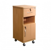 Sunflower Medical Beech Laminate-Faced MDF Bedside Cabinet with Lockable Drawer and Cupboard