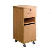 Sunflower Medical Beech Laminate-Faced MDF Bedside Cabinet with Shelf and Lockable Drawer