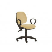 Sunflower Medical Beige Mid-Back Twin-Lever Extreme Plus Consultation Chair with Armrests and Black Base