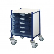 Sunflower Medical Vista 40 Blue Colour Concept Clinical Trolley with Five Single Depth Blue Trays