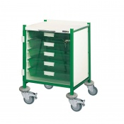 Sunflower Medical Vista 40 Green Colour Concept Clinical Trolley with Five Single Depth Green Trays