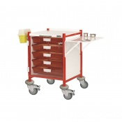 Sunflower Medical Vista 40 Red Colour Concept Clinical Trolley with Five Single Depth Red Trays