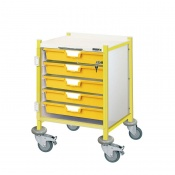 Sunflower Medical Vista 40 Yellow Colour Concept Clinical Trolley with Five Single Depth Yellow Trays