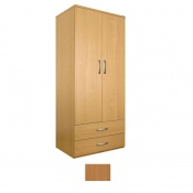 Sunflower Medical Beech Gents Double Wardrobe with Drawers
