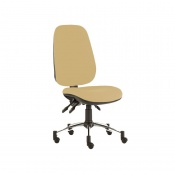 Sunflower Medical Beige Deluxe Executive High-Back Three-Lever Extreme Plus Consultation Chair with Chrome Base