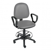 Sunflower Medical Grey Gas-Lift Chair with Foot Ring and Arm Rests
