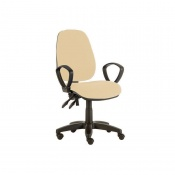 Sunflower Medical Beige High-Back Twin-Lever Extreme Plus Consultation Chair with Armrests and Black Base