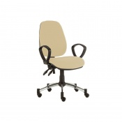 Sunflower Medical Beige High-Back Twin-Lever Extreme Plus Consultation Chair with Armrests and Chrome Base