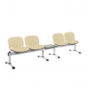 Sunflower Medical Beige Intervene Venus Visitor 5 Section Seating with Table and Four Seats
