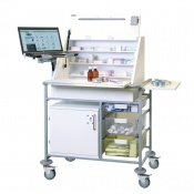 Sunflower Medical Large Ward Drug and Medicine Dispensing Trolley with Laptop Arm and Two Storage Trays