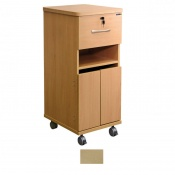 Sunflower Medical Maple Laminate-Faced MDF Bedside Cabinet with Shelf and Lockable Drawer
