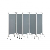 Sunflower Medical Silver Mobile Five-Panel Folding Hospital Ward Screen
