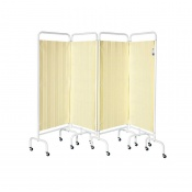 Sunflower Medical Beige Mobile Four-Panel Folding Hospital Ward Curtained Screen