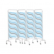 Sunflower Medical Waves Mobile Four-Panel Folding Hospital Ward Screen