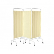 Sunflower Medical Beige Mobile Three-Panel Folding Hospital Ward Curtained Screen