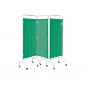 Sunflower Medical Forest Green Mobile Three-Panel Folding Hospital Ward Curtained Screen