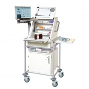 Sunflower Medical Narrow Large Ward Drug and Medicine Dispensing Trolley with Laptop Arm and One Storage Tray