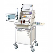 Sunflower Medical Narrow Large Ward Drug and Medicine Dispensing Trolley with Tablet Arm and One Storage Tray