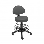 Sunflower Medical Grey Gas-Lift Stool with Back Rest and Foot Ring