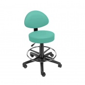 Sunflower Medical Mint Gas-Lift Stool with Back Rest and Foot Ring