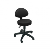 Sunflower Medical Black Gas-Lift Stool with Back Rest