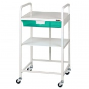Sunflower Medical Vista 10 Economy Trolley with One Green Tray and One Shelf