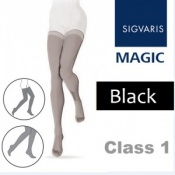 Sigvaris Magic Class 1 Black Thigh High Compression Stockings with Knobbed Grip Top
