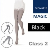 Sigvaris Magic Class 2 Black Thigh High Compression Stockings with Knobbed Grip Top